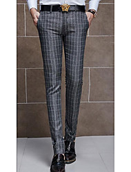 Men's Slim Chinos Pants,Casual/Daily Simple Plaid Mid Rise Zipper Cotton Stretchy Spring / Fall