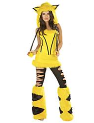 Costumes de Cosplay Costumes de père noël Fête / Célébration Déguisement Halloween Jaune Mosaïque Robe / Plus d'accessoires Noël Féminin