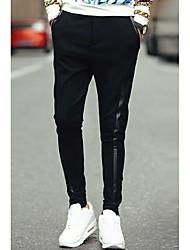 Masculino Harém Chinos Calças-Cor Única Casual Simples Cintura Média Zíper Algodão Micro-Elástico Com Molas / Outono
