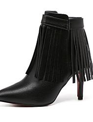 Mujer-Tacón Stiletto-Otro-Botas-Oficina y Trabajo Vestido Informal-Semicuero-Negro