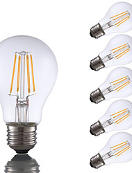 4W E26 Lâmpadas de Filamento de LED A60(A19) 4 COB 350 lm Branco Quente Regulável AC 110-130 V 6 pçs