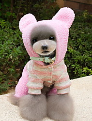 Dog Costume / Hoodie / Clothes/Jumpsuit Brown / Pink Dog Clothes Winter / Spring/Fall Stripe Cute / Cosplay