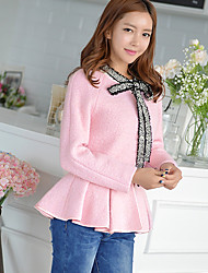 DABUWAWA® Women's Going out / Casual/Daily / Holiday Cute / Street chic / Sophisticated Jackets Solid Round Neck Long Sleeve Fall Pink Wool Pleated