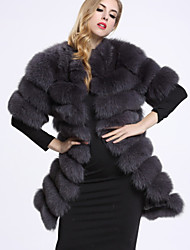 BF-Fur Style Women's Casual/Daily Sophisticated Fur CoatSolid Round Neck Short Sleeve Winter White / Black / Gray Fox Fur