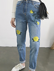 Sign Nett  Korean version of the retro high waist was thin loose embroidered jeans feet
