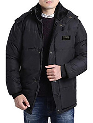 Men's Regular Padded CoatSimple Casual/Daily Solid-Cotton / Polyester Polypropylene Long Sleeve Hooded