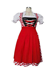 Cosplay Costumes Maid Costumes Festival/Holiday Halloween Costumes Red Plaid Skirt / Apron Female