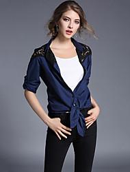 Feminino Camisa Social Casual / Trabalho Moda de Rua Primavera / Outono,Retalhos / Bordado Azul Algodão Colarinho de Camisa Manga Longa