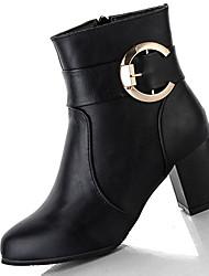 Women's Boots Winter Comfort PU Casual Chunky Heel Split Joint Black Gray Khaki Walking