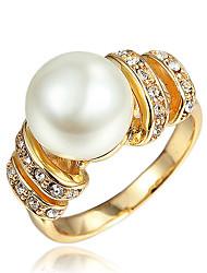 Anéis Pérola Casamento / Festa / Diário / Casual Jóias Chapeado Dourado Feminino Anel 1peça,7 / 8 Dourado