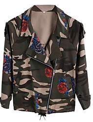 Women's Casual/Daily Simple Jackets,Floral Shirt Collar Long Sleeve Winter Black PU Medium