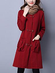 Mujer Vintage / Simple / Chic de Calle Noche / Casual/Diario Un Color / A Rayas Abrigo,Escote Redondo Manga Larga Primavera / Invierno