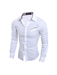 Men's Casual/Daily Simple Shirt,Solid Standing Collar Long Sleeve Blue / White / Multi-color Cotton