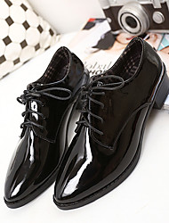 Women's Oxfords Comfort Leatherette Fall Casual Comfort Black Burgundy 1in-1 3/4in