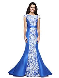 2017 TS Couture® Formal Evening Dress - Elegant Trumpet / Mermaid Jewel Sweep / Brush Train Lace / Taffeta with Sash / Ribbon