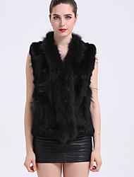 BF-Fur Style Women's Casual/Daily Sophisticated Fur CoatSolid Shirt Collar Sleeveless Winter Red / White / Black / Brown / Gray Rabbit Fur