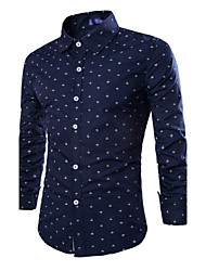 High - Grade Spring And Autumn Men 'S Men' S Leisure Shirt Leisure Anchor Printed Long - Sleeved Shirt
