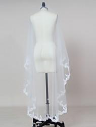 Bride Wedding White / Ivory Veil One-tier Blusher Veils / Elbow Veils / Fingertip Veils Lace Applique Edge Tulle