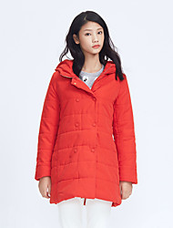 Metersbonwe Women's Long Padded CoatStreet chic Casual/Daily Solid-Polyester Polypropylene Long Sleeve Hooded Red