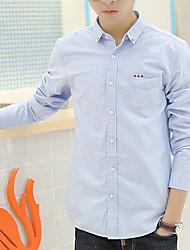 Men's Going out / Work Simple Spring / Fall Shirt,Solid Shirt Collar Long Sleeve Blue Rayon Medium