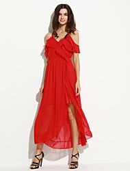 Women's Off The Shoulder|Ruffle Holiday Sexy Loose Dress,Solid V Neck Midi Sleeveless Red Polyester Summer