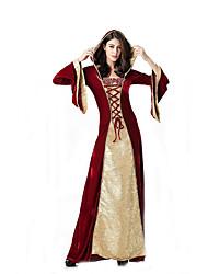 Fantasias de Cosplay Rainha / Deusa Cosplay de Filmes Vermelho Cor Única Vestido Dia Das Bruxas / Carnaval Feminino Poliéster
