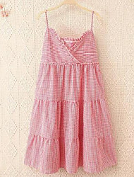 Women's Casual/Daily Simple A Line Dress,Solid V Neck Mini Sleeveless Pink Cotton Summer Mid Rise Micro-elastic Medium
