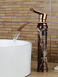Contemporary Heightening Imitation jade Rose Gold Waterfall Bathroom Sink Faucet