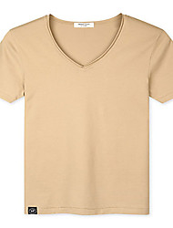 Trenduality® Men's V Neck Short Sleeve T Shirt Khaki-43093