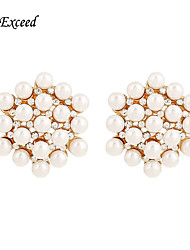 Brand Hot Selling Exquisite Flower Shaped Crystal Imitation Pearl Stud Earring For Ladies ER119796