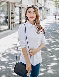 Women's Plus Size Simple Shirt,Solid Shirt Collar Long Sleeve White Cotton