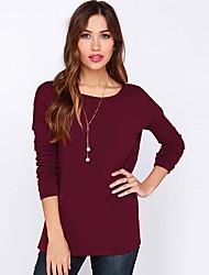 Damen Solide Einfach Ausgehen T-shirt,Rundhalsausschnitt Herbst Langarm Blau / Rot / Schwarz / Grau Baumwolle Mittel