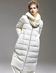 Пальто Простое Обычная Пуховик Для женщин,Однотонный На каждый день Полиэстер Спандекс Пух белой утки,Длинный рукав