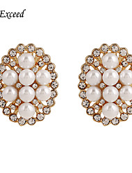 Brand Hot Selling Oval Crystal Imitation Pearl Stud Earring For Ladies ER119680
