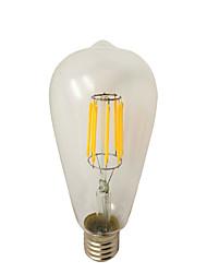 8W E26/E27 Ampoules à Filament LED ST64 8 COB 780 lm Blanc Chaud Graduable AC 100-240 V 1 pièce