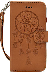 For Samsung Galaxy A310 A510 Hand Rope Style Dream Catcher Embossing PU Card Holder Wallet Phone Cover