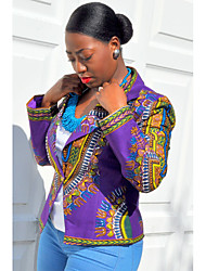 Women's Casual/Daily Vintage Jackets,Print V Neck Long Sleeve Summer Purple Cotton Thin