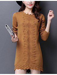Women's Casual/Daily Plus Size Simple Sweater Dress,Solid Round Neck Midi Long Sleeve Cotton Rayon Fall Winter High Rise Micro-elastic