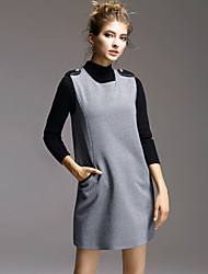 AGD Women's Casual/Daily Simple Fall T-shirt Skirt SuitsSolid Turtleneck Long Sleeve Gray Others