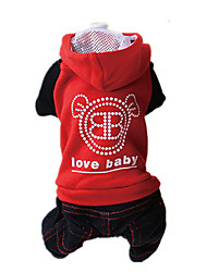 Dog Hoodie Clothes/Jumpsuit Red Black Dog Clothes Winter Spring/Fall Jeans Fashion Keep Warm