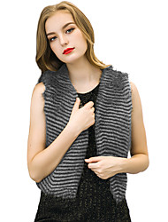 Women's Going out / Casual/Daily / Holiday Vintage / Simple / Street chic Jackets,Striped V Neck Sleeveless Spring / Fall Gray Polyester
