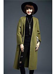 Women's Casual/Daily Simple Coat,Solid Long Sleeve Fall / Winter Red / Brown / Green / Orange Wool Medium