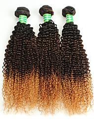 3 Pieces Curly Human Hair Weaves Brazilian Virgin Hair 300g 12-28inches Human Hair Extensions Ombre Hair