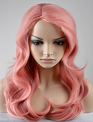 Europe and the United States women 's fashion New Year party long section of large waves of light pink Omber high temperature wire wig