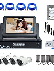 Strongshine® IP Camera with 720P/Infrared/Water-proof And 4CH NVR with 7Inch LCD/2TB Surveillance HDD Combo Kits