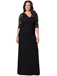 Women's Full-figured Womens Elegant Half Sleeves Black Gown