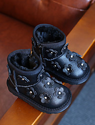 Girl's Boots Winter Comfort Leather Casual Flat Heel Flower Black Pink Gray Other