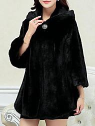 Manteau Femme,Couleur Pleine Décontracté / Quotidien simple Manches Longues Blanc / Noir Cuirs Particuliers