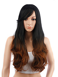 Long Wavy Hair Black and Yellow Color Synthetic Wigs for Women