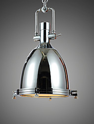 Max 60W Retro Simple Loft Pendant Lights Plating Chrome Metal Dining Room Kitchen Bar Cafe Hallway Balcony Light Fixture
